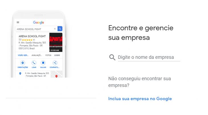 """Cadastro no Google Meu Negócio - """"Digite o nome da empresa"""""""