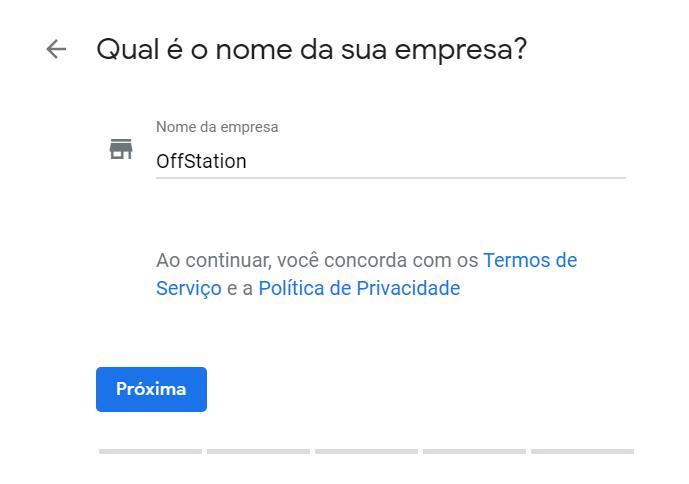 """Cadastro no Google Meu Negócio - """"Cadastre o nome que irá aparecer para os usuários"""""""