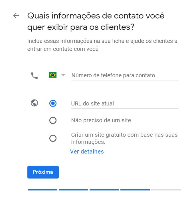 """Cadastro no Google Meu Negócio - """"Insira os dados de contato"""""""