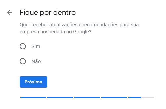 """Cadastro no Google Meu Negócio - """"Receber novidades do Google"""""""
